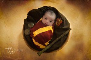 Newborn baby photographer Dublin. Baby as Harry Potter